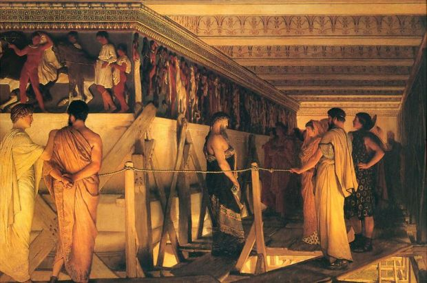 800px-1868_Lawrence_Alma-Tadema_-_Phidias_Showing_the_Frieze_of_the_Parthenon_to_his_Friends
