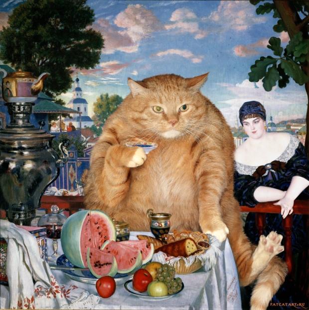 Kustodiev_Boris_-_Merchants_Wife_at_Tea_-cat-w