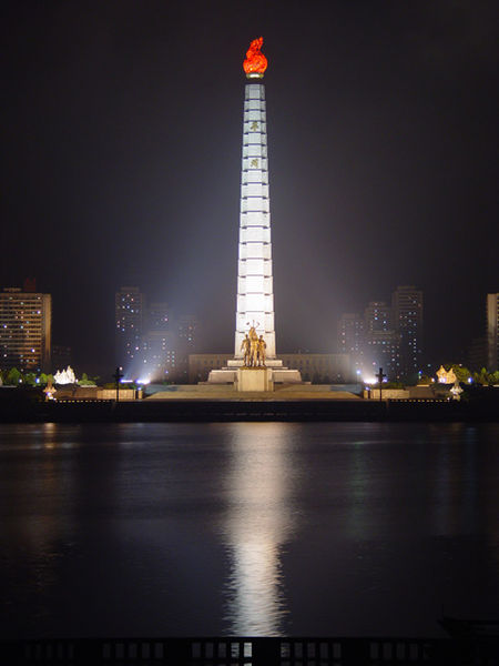 The Tower of Juche Idea statue in central Pyongyang by Martyn Williams