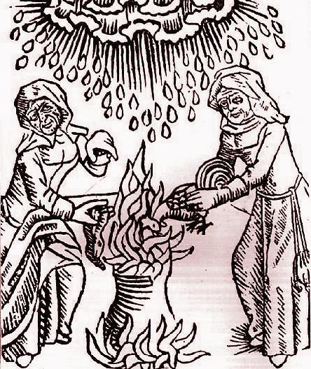 Basura, Brendana, Brundu add ingredients to a cauldron (woodcut, 1489).