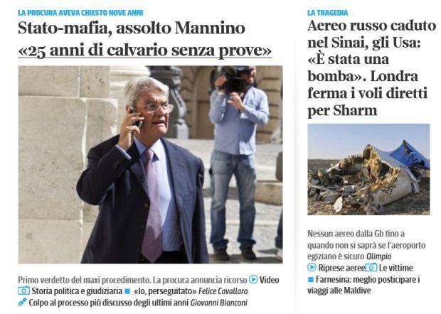 Screenshot dall'attuale Home del Corriere che neppure nel più remote occhiello dà notizia delle scottanti dichiarazioni di Corrdino Mineo...