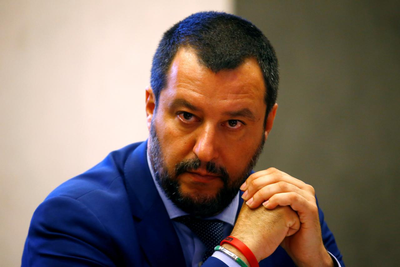 FILE PHOTO: Italy's Interior Minister Matteo Salvini looks on during news conference