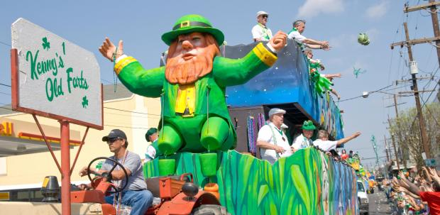 The Kenny's Old Farts float tosses cabba